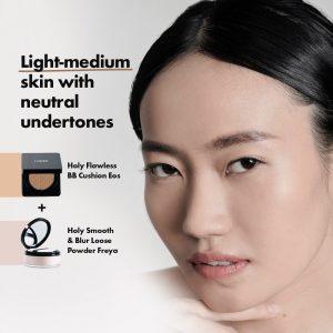 panduan warna cushion dan loose powder Looké untuk kulit light-medium