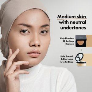 panduan warna cushion dan loose powder Looké untuk kulit medium with neutral undertones